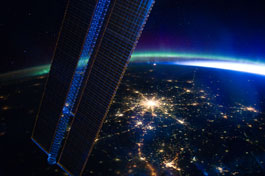 Moscow and Aurora seeing from ISS