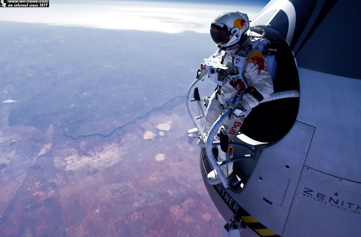 Felix baumgartner ready to break sound barrier with his body - Red bull high dive ...