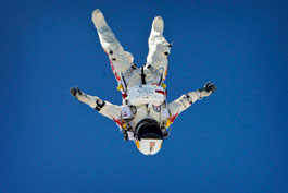 Felix Baumgartner breaking the sound speed barrier with his own body