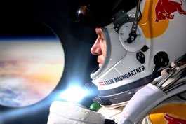 Felix Baumgartner in the capsule, getting ready to jump