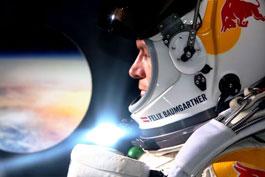 Felix Baumgartner in the capsule, getting ready to jump