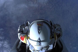 Felix Baumgartner one second before his historic jump
