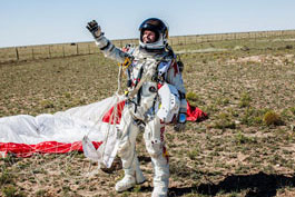 Felix Baumgartner greets all his supporters after landing safely