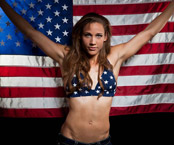 Photos of Lolo Jones with the American flag