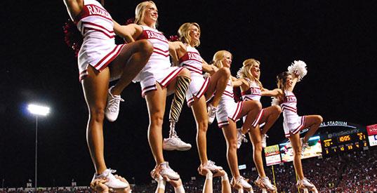 Razorback Cheerleaders and Patience Beard