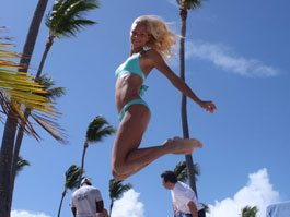 Darya Klishina in jumping on the beach