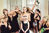 Drunken ladies at a bachelorette party