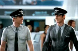 Air New Zealand aircrew in body paint