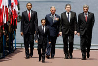 Barack Obama, Prince Charles, Gordon Brown, Canadian Prime Minister Stephen Harper, and Nicolas Sarkozy