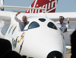 Richard Branson and Burt Rutan in WhiteKnightTwo Rollout