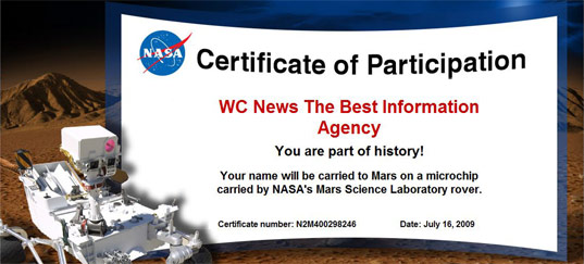 NASA Certificate for participation