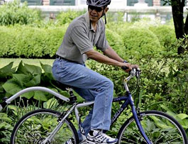 The President Obama on a bike