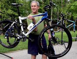 The legendary George W Bush with bicycle