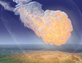 Artistic illustration Tunguska explosion
