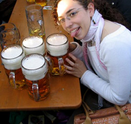 Girl with a lot of beers