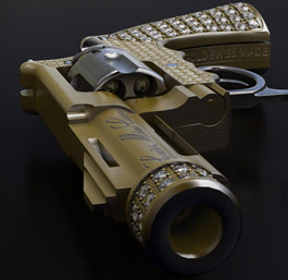 Mini gun with Gold and diamonds